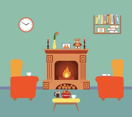 recreation rooms: Flat room interior with armchairs and fireplace. Vector illustration of cozy home for your design