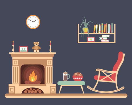 rocking chair: Room interior design with fireplace, rocking chair bookshelf, table, clock in evening time. Flat style vector illustration