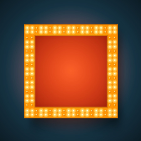 square frame: Vector realistic 3D light background.   Retro design element square frame glowing with lamps for your Template, Advertising, Promotions. Illustration