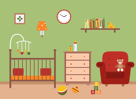 playroom: Nursery vector interior. Baby room with cradle, chair,  toys, kid dresser. Flat style illustration