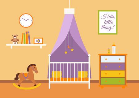 école maternelle: intérieur vecteur Nursery. Espace bébé avec berceau, chaise, jouets, enfant commode. Style plat illustration Illustration