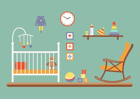 dresser: Nursery vector interior. Baby room with cradle, chair,  toys, kid dresser. Flat style illustration
