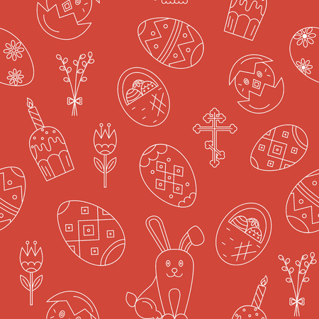 pussy willow: Vector seamless pattern with Easter celebration elements. Vector holiday pattern collection. Perfect for Easter cards