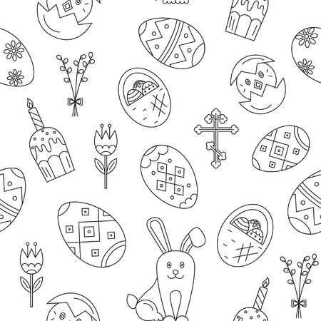 revive: Vector seamless pattern with Easter celebration elements. Vector holiday pattern collection. Perfect for Easter cards