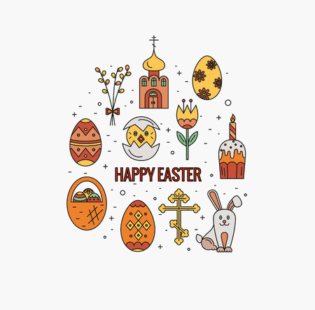 revive: Vector concept with different Easter celebration elements. Clean and easy to edit. Vector  illustration in mono line style for  banners, flyers and other types of business design.