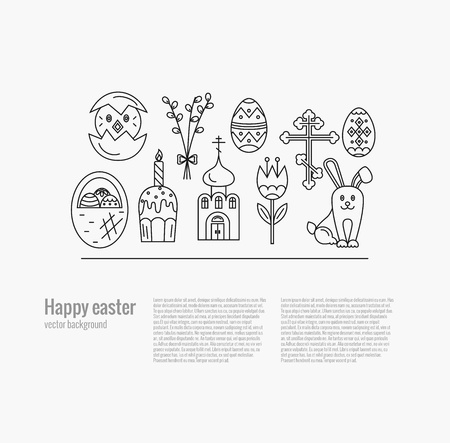 pussy willow: Vector concept with different Easter celebration elements. Clean and easy to edit. Vector  illustration in mono line style for  banners, flyers and other types of business design.