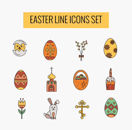 revive: Vector icons set of different Easter celebration elements. Clean and easy to edit. Vector illustration in mono line style for banners, flayers and other types of business design.