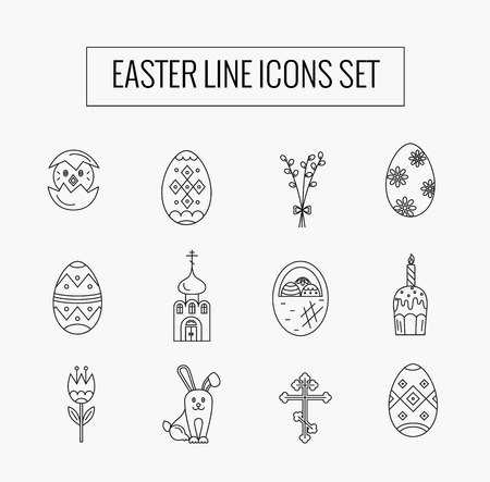 revive: Vector icons set of different Easter celebration elements. Clean and easy to edit. Vector  illustration in mono line style for  banners, flyers and other types of business design.