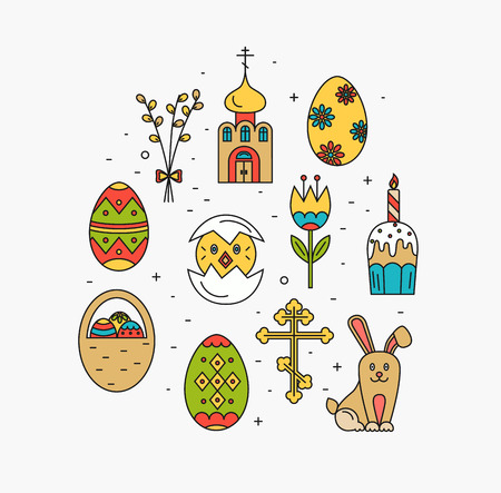 revive: concept of different Easter celebration elements. Clean and easy to edit Easter design. illustration in mono line style for Easter  banners, other types of business design.