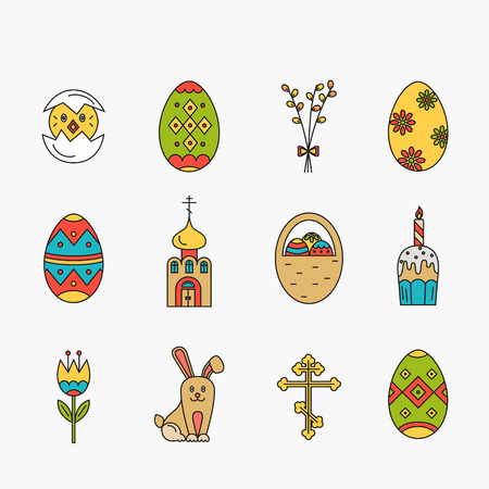 revive: icons set of different Easter celebration elements. Clean and easy to edit Easter design. illustration in mono line style for Easter  banners, and other types of business design. Illustration
