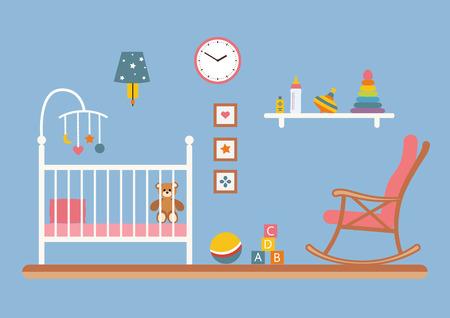 dresser: Baby room vector interior. Nursery room with cradle, chair, toys, kid dresser. Flat style illustration