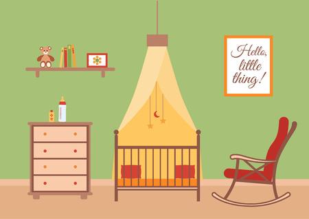 dresser: Baby room vector interior. Nursery room with cradle, chair, toys, kid dresser. Flat style room illustration