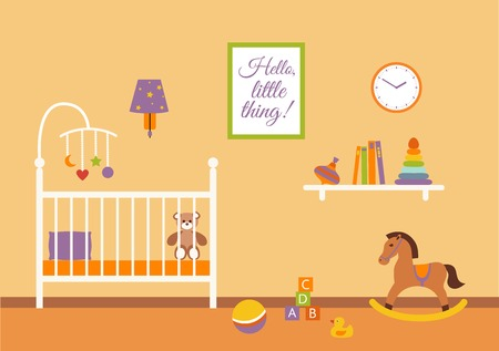 Baby room vector interior. Nursery  baby room with cradle, chair, toys, kid dresser. Flat style baby room illustration