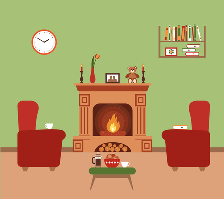 recreation rooms: Room interior fareplace design with  chair books, table, clock in evening  tea time, fireplace. Flat style vector fireplace illustration of cozy room interior for your design, banners.