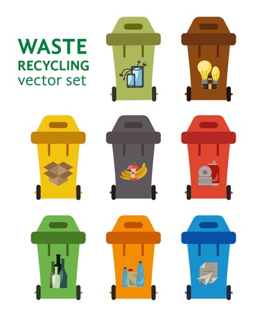 sorting: Set of waste sorting bins. Garbage sorting flat concept. Vector illustration of waste sorting management.  Colored garbage cans with waste categories.