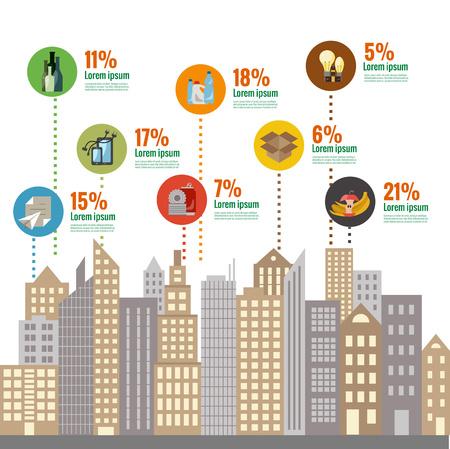 basura: Gestión de residuos concepto plana. Ilustración del vector de la ciudad managment categorías de residuos. tipos de basura de clasificación de gestión de residuos.