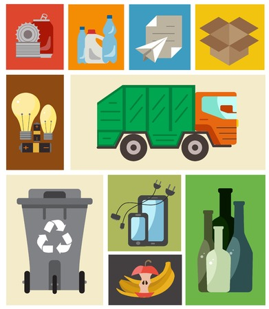 categories: Waste disposal flat concept. Vector illustration of waste disposal categories with organic, paper, plastic, glass, metal, e-waste, batteries, light bulbs and mixed waste.Waste disposal icons set. Illustration
