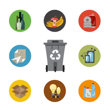 categories: Garbage sorting flat concept. Vector illustration of garbage sorting categories with organic, paper, plastic, glass, metal, e-waste, batteries, light bulbs and mixed waste. Garbage sorting icons set