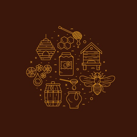 bee: Beekeeping product icon set. Beekeeping vector symbols. Bee, honey, bee house, honeycomb, apiary, beehive, flower. Outline style beekeeping product icons. Beekeeping product illustration