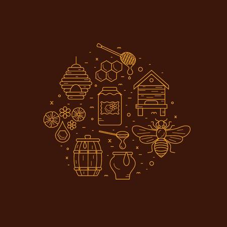 abejas panal: conjunto de iconos de productos de la apicultura. Apicultura símbolos vectoriales. Abeja, miel, casa de abeja, panal, apiario, colmena, flor. iconos de productos de la apicultura estilo de esquema. producto del ejemplo del apicultura