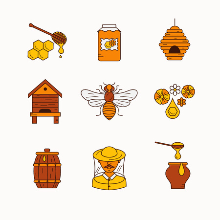 beehive: Vector illustration beekeeping in outline style. Beehive, bee, apiary and honey symbols for honey healthy food designs. Apiary icons: bee, honey, apiarist, beehive, honeycomb. Beehive apriary