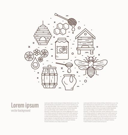 bee house: Beekeeping product icon set. Beekeeping vector symbols. Bee, honey, bee house, honeycomb, apiary, beehive, flower. Outline style beekeeping product icons. Beekeeping product illustration