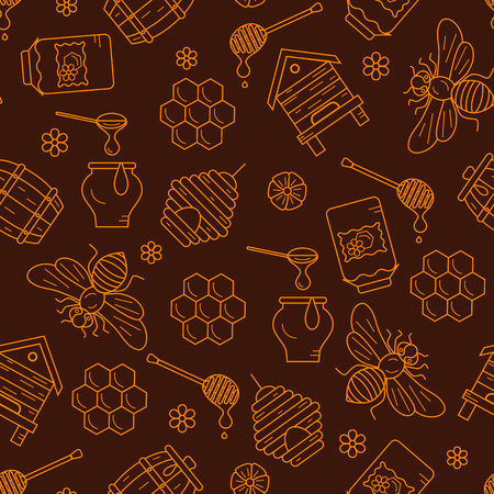 mead: Mead seamless pattern illustration. Mead vector symbols. Bee, honey, bee house, honeycomb, beehive, flower. Outline style mead seamless pattern. Vector icon honey seamless pattern. Honey illustration