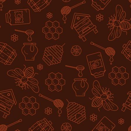 abejas panal: Panal ilustración transparente patrón. símbolos de panal de vectores. Abeja, miel, panal de abeja, colmena. Esquema estilo de panal patrón transparente. Vector icono de nido de abeja patrón transparente. ilustración de la miel