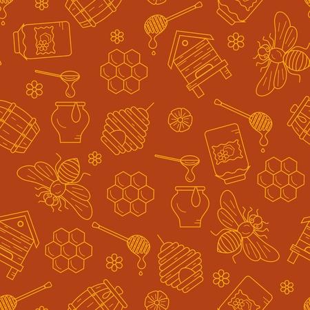 mead: Honeycomb seamless pattern illustration. Honeycomb vector symbols. Bee, honey, honeycomb, beehive. Outline style honeycomb seamless pattern. Vector icon honeycomb seamless pattern. Honey illustration