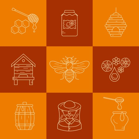 bee house: Apiary flat illustration. Apiarist vector symbols. Bee, honey, bee house, beekeeper, honeycomb, beehive, flower. Outline style apiary icons set. Vector apiary icons for your designs.