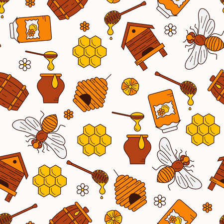 bee house: Honey seamless pattern illustration. Honey vector symbols. Bee, honey, bee house, honeycomb, beehive, flower. Outline style honey seamless pattern. Vector icon honey seamless pattern. Honey illustration Illustration