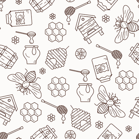 Honey seamless pattern illustration. Honey vector symbols. Bee, honey, bee house, honeycomb, beehive. Outline style honey seamless pattern. Vector icon honey seamless pattern. Honey illustration