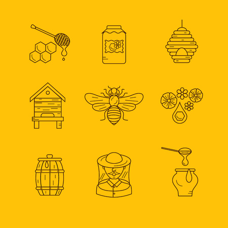 apiary: Vector illustration beekeeping in outline style. Beehive icon, bee, apiary and honey symbols for honey healthy food designs. Apiary icons: bee, honey, apiarist, beehive, honeycomb. Beehive apriary