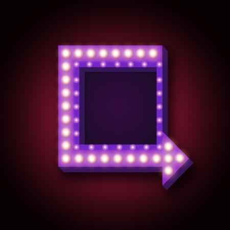 1950 cartel de neón retro con luces de neón. 3d cartel de neón retro con flecha de neón y el lugar de mensajes de texto, promociones, descuentos. Ilustración del vector de la muestra de neón con flecha de neón