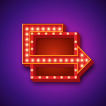 neon sign: Retro neon sign with neon lights. 3D retro neon sign with neon arrow. Vector illustration of retro neon sign and glowing neon lights. Realistic 3D retro neon sign for your designs, banners