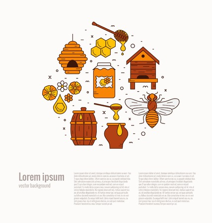 Honey bee house illustration. Honey bee vector symbol. Bee, honey, bee house, honeycomb, beehive, flower. Outline style honey bee house. Vector icon honey bee. Mead bee house  illustration