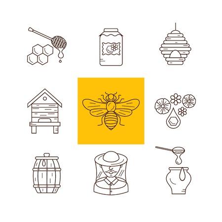 Bijenstal flat illustratie. Apiarist vector symbolen. Bijen, honing, bij huis, imker, honingraat, bijenkorf, bloem. Schets stijl bijenstal iconen set. Vector bijenstal pictogrammen voor uw ontwerpen. Stock Illustratie