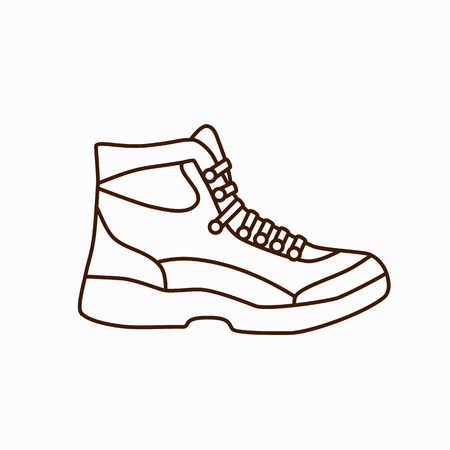 Camping boot icon in flat style. Tourism boot icon. Vector illustration of tourism boot icon isolated. Hillwalking boot concept for your design. Tourism footwear icon. Camping footwear concept. Vetores