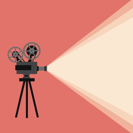 cinematographic: Movie projector vector illustration. Movie projector vector concept. Movie projector background cinema illustration.  Movie projector vintage poster. Vector movie projector background for your design.