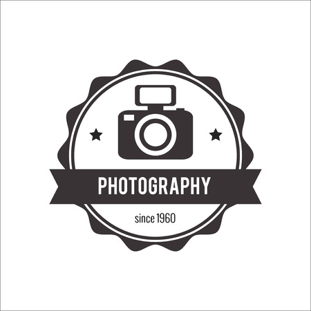 Photo badge outline vector illustration. Photo logo  icon  isolated. Photo logo symbol. Photography badge for sport design. Photo concept photography logo isolated background. Photo badge vector