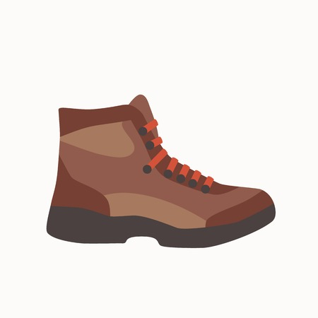 hillwalking: Camping boot icon in flat style. Tourism boot icon. Vector illustration of tourism boot icon isolated. Hillwalking boot concept for your design.  Tourism footwear icon. Camping footwear concept.