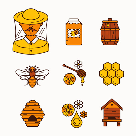 beehive: Apiary flat illustration. Apiarist vector symbols. Bee, honey, bee house, beekeeper, honeycomb, beehive, flower. Outline style apiary icons set. Vector apiary icons for your designs.