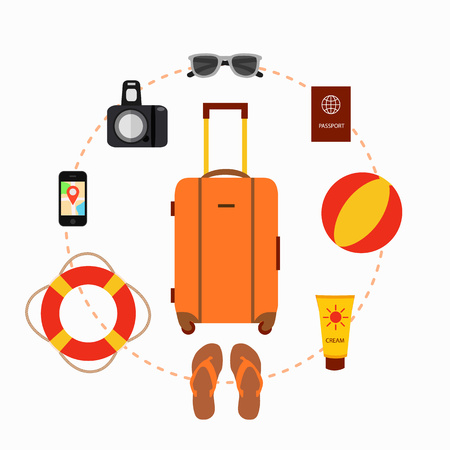 travel suitcase: Travel suitcase concept with travel elements, voyage tourism icons. Summer travel suitcase concept. Voyage travel baggage  concept in flat style. Vector illustration of summer tourism background Illustration