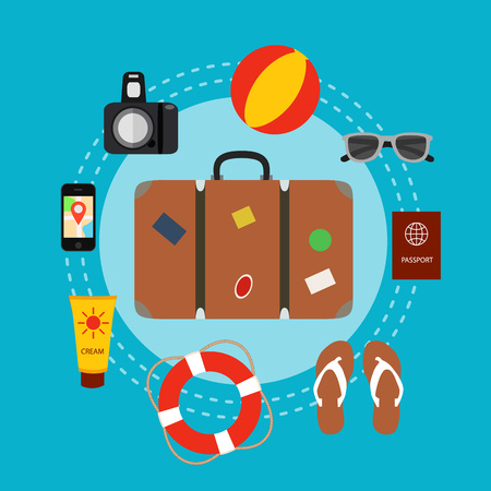 voyage: Travel baggage concept with travel elements, voyage tourism  icons. Summer travel luggage concept suitcase. Voyage travel concept in flat style. Vector illustration of summer tourism background