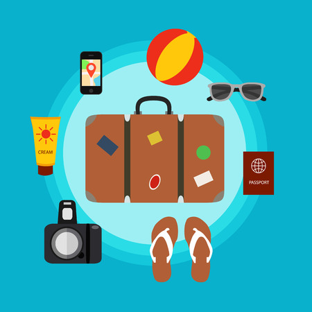travel luggage: Travel baggage concept with travel elements, voyage tourism  icons. Summer travel luggage concept suitcase. Voyage travel concept in flat style. Vector illustration of summer tourism background