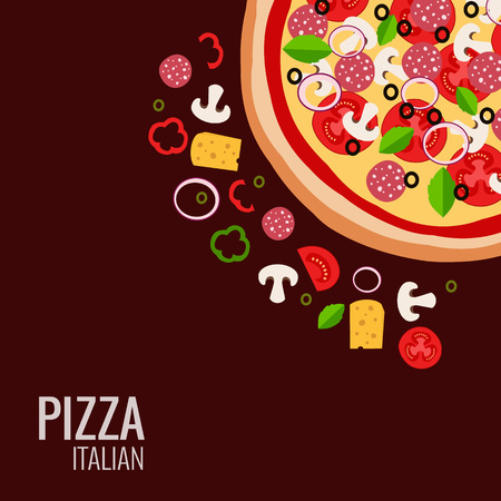 ingredient: Pizza icon background. Pizza icon flat design. illustration of pizza ingredient for pizza menu. Vector pizza  ingredient collection. Pizza icon. Pizza isolated  background. Pizza piece food illustration