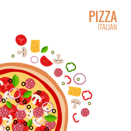 Pizza icon background. Pizza icon flat design. Flat illustration of pizza ingredient for pizza menu. Vector pizza ingredient collection. Pizza icon. Pizza piece food illustration