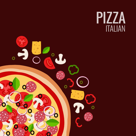 isolated ingredient: Pizza icon background. Pizza icon flat design.  Flat illustration of pizza ingredient for pizza menu. Vector pizza  ingredient collection. Pizza icon. Pizza isolated  background. Pizza piece food Illustration