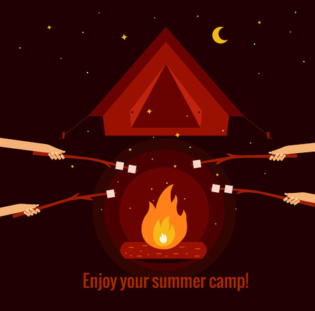 colourful fire: Camping fire background flat illustration. Camping fire background vector symbols. Vector illustration of night campfire, tent, marshmallow. Campfire background for summer camp designs