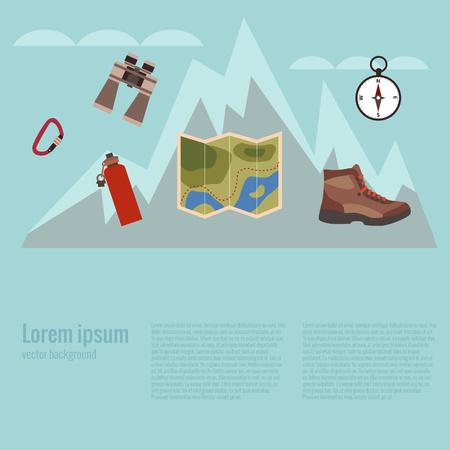 Alpinisme fond. Vector illustration de l'escalade. Affiche avec fond d'escalade de montagne fait dans le style plat. icônes Montagne d'escalade fixés. Escalade aventure.
